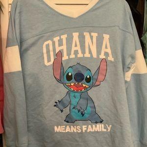 Disney Stitch Ohana Long Sleeve Tee Never Worn